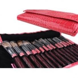 Bundle Monster 15pc Studio Pro Makeup Make Up Cosmetic Brush Set Kit w/ Faux Crocodile Case